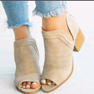 One Left! NIB Qupid Cutout Ankle Booties Taupe